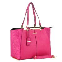 SY1456-1 Fushia - Sally Young Spacious Interior Patchwork Women Handbags With Pendant