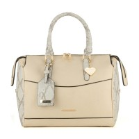 SY1457 Beige - Sally Young Snakeskin Grab Handle Handbag