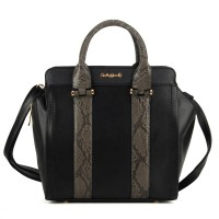 SY1472 Black - Sally Young Snakeskin Effect Structured Handbag