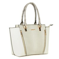 SY1473 Beige - Sally Young Snakeskin Patchwork Ladies' Tote Bag