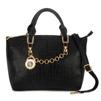 SY1478 Black - Sally Young Fashion Crocodile Metal Chain Handbag Women Shoulder Bag