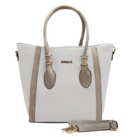 SY1481 White - Sally Young Winged Handbag with Snakeskin Detail