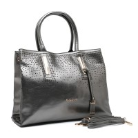 SY1483 Grey - Sally Young Glossy Handbag with Hollow Out Detail