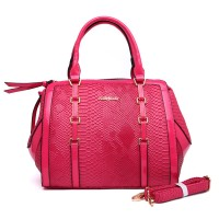 SY1485 Fushia - Sally Young Snakeskin Handbag with Belt Chain Detail