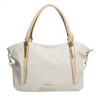 SY1488 White - Sally Young Metal Handle Detail Hobo Bag Casual Handbag