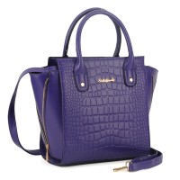 SY1489 Blue - Sally Young Embossed Crocodile Women Handbag Fashion Winged Tote Bag