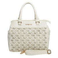 SY1492 White - Lady Style Floral Hollow Out Handbag Women Shoulder Bag