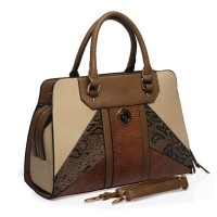 SY1649-2 Camel - Sally Young Tasteful Snakeskin Patchwork Women Handbags