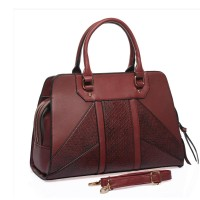 SY1649-2 Purplish Red - Sally Young Tasteful Snakeskin Patchwork Women Handbags