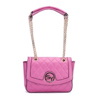 SY2076 Fushia - Sally Young Chic Lattice Metal Chain Shoulder Bags