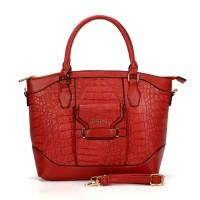 SY2100 Red - Sally Young Simple Designer Crocodile Pattern Women Handbags