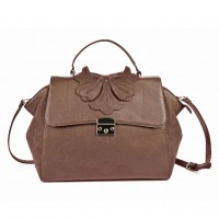 (Orchid) Sally Young Design Lock Front Satchel bag SY2112 Brown