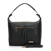 SY2117 Black - Sally Young Double Zipper Solid Handbags For Women