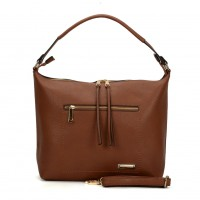 SY2117 Brown - Sally Young Double Zipper Solid Handbags For Women