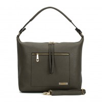 SY2117 Grey - Sally Young Double Zipper Solid Handbags For Women