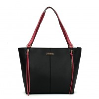 SY2118 Black - Sally Young Zipper Decoration Women Solid Handbags