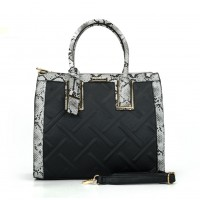 SY2119 Black&White assort - Fashion Women Plaid Patchwork Hangbag WIth Pendant
