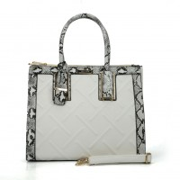 SY2119 White - Fashion Women Plaid Patchwork Hangbag WIth Pendant