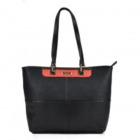 SY2120 Black - Sally Young Fashion Snakeskin Pattern Patchwork Women Handbag