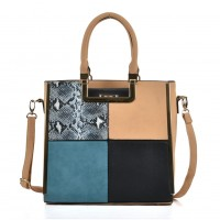 SY2121 Apricot - Sally Young Women Snakeskin Pattern Plaid Patchwork Fashion Handbag