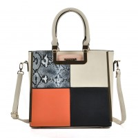 SY2121 Beige - Sally Young Women Snakeskin Pattern Plaid Patchwork Fashion Handbag
