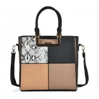 SY2121 Black - Sally Young Women Snakeskin Pattern Plaid Patchwork Fashion Handbag
