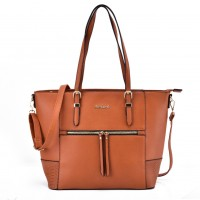 SY2122 Brown - Sally Young Women Decorative Band Solid Handbags