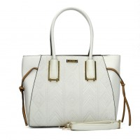 SY2122 White - Sally Young Women Decorative Band Solid Handbags