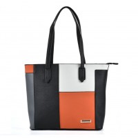SY2123 Orange - Sally Young Patchwork Plaid Metal Trim Women Hangbag