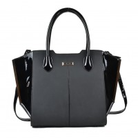 SY2124 Black - Sally Young Fashion Patchwork Bat Package Women Hangbag