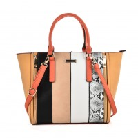 SY2125 Black - Fashion Women Snakeskin pattern Patchwork Handbag
