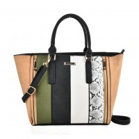 SY2125 Green - Fashion Women Snakeskin pattern Patchwork Handbag