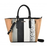 SY2125 Grey - Fashion Women Snakeskin pattern Patchwork Handbag
