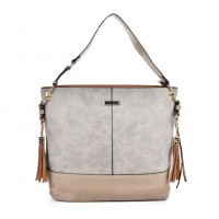 SY2126 Beige - Fashion Women Tassel Solid Patchwork Handbag