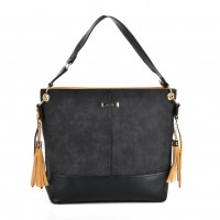 SY2126 Black - Fashion Women Tassel Solid Patchwork Handbag