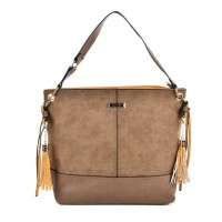 SY2126 Khaki - Fashion Women Tassel Solid Patchwork Handbag