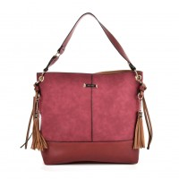 SY2126 Red - Fashion Women Tassel Solid Patchwork Handbag