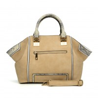 SY2129 Beige - Snakeskin Pattern Fashion Patchwork Women Hangbag