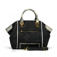 SY2129 Black - Snakeskin Pattern Fashion Patchwork Women Hangbag