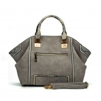 SY2129 Grey - Snakeskin Pattern Fashion Patchwork Women Hangbag