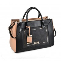 SY2130 Black - Metal Pendant Women Patchwork Handbag