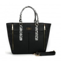 SY2131 Black - Patchwork Fashion Women Snakeskin Pattern Handbag