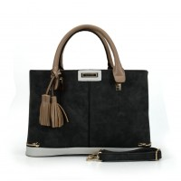 SY2133 Apricot - Fashion Patchwork Tassel Women Metal Trims Hangbag