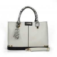 SY2133 White - Fashion Patchwork Tassel Women Metal Trims Hangbag