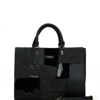 SY2136 Black - Fashion Patchwork Pendant Bag For Women