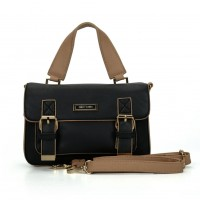 SY2137 Black - Fashion Solid Satchels Women Handbag