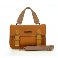 SY2137 Brown - Fashion Solid Satchels Women Handbag