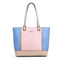SY2138 Blue - Zipped Detail Contrast Tote Bag In Patchwork