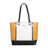 SY2138 Yellow - Zipped Detail Contrast Tote Bag In Patchwork