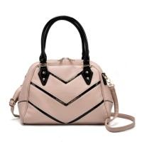 SY2143 Beige - Patent Handle Double Zipper Top Tote Bag